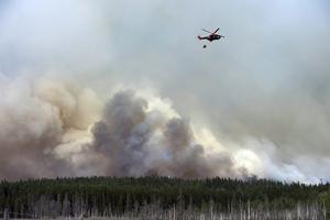 Dramatiska dagar under sommaren 2014. Helikopter vattenbombar utanför Gammelby där boende tvingas att lämna sina hem efter att räddningsledningen beslutat att hela byn skall evakueras.