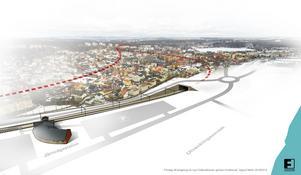 Illustration över tänkta järnvägstunnlar under Hudiksvalls tätort som föreslås av Sigurd Melin, Näsviken.