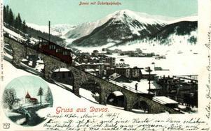 Davos, Schatzalpbahn kring 1900.Foto: M. Künzli