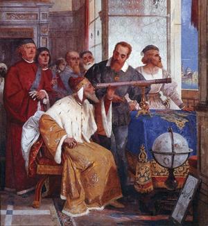 Galilei Galileo visar Dogen av Venedig hur teleskopet fungerar.