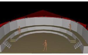 En animerad bild av den kommande scenen. Känslan ska vara lite av Shakespeares teaterscen.Illustration: Thijs Wiessing