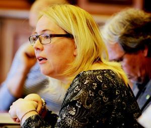 Mona Modin Tjulin, (S) drev en jalinje kring klimatväxling och tackade för stödet från Centerpartiet.