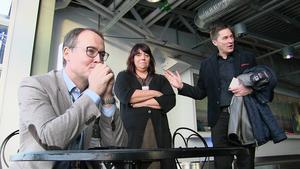 Han har stora förväntningar på sig, Swedavias nye vd Jonas Abrahamsson. Här tillsammans med Susanne Norman, flygplatschef på Frösön och Ulf Wallin. Swedavias presschef.