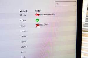 Så här kan det se ut på vårdpersonalens datorskärmar. Den första patienten har tid till läkaren Karin Hammarström, den andra behövde en remiss och den tredje är hos distriktssköterskan Shler Amini.