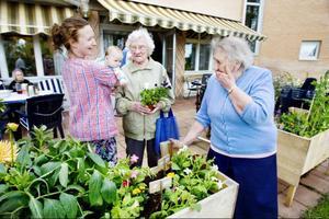 Tina Stafrén, till vänster, har hela tiden tagit förgivet att Förenade Care skulle ta över Trädgårdsprojektet på äldreboendet i Krokom. Men företaget, som driver äldreboendet, säger sig nu inte ha ekonomi att frisätta personal till projektet.