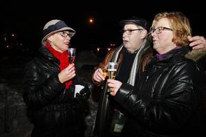 Inger Söderlund, Lloyd Karlsson och Elisabeth Holmberg skålade in det nya året.