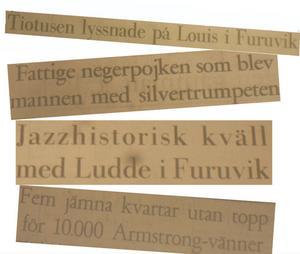 Några av Gävletidningarnas rubriker före och efter Louis Armstrongs besök.