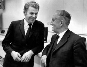 Vinnare. Det gick bra för Centerpartiet och dess partiledare Gunnar Hedlund (t h) i valet 1958. Det var början på en uppåtgående trend som ledde till att Thorbjörn Fälldin (t v) blev statsminister 1976. Arkivfoto: Lennart Nygren/TT