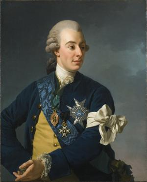 Teaterkungen Gustav III grundade grunderna för den moderna kulturpolitiken. Porträttmålning av Alexander Roslin  1772.