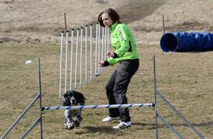 Lagarbete. Att jobba ihop sig med sin hund ger fördelar i agility. Therese Malm i Lindesbergs brukshundklubb uppmuntrar sin hund Fia inför hindret när klubben har öppet hus.