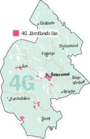 Nuvarande 4G-täckning i Jämtlands län.