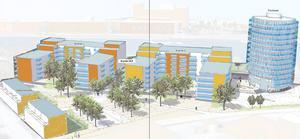 HSB tänker sig ett tornliknande hus och mindre hus runt om.