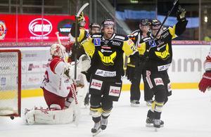 Här är en bild från säsongen 2012/2013 då VIK vann mot Troja/Ljungby. Smålänningarna spelade då i Hockeyallsvenskan.