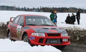 Lennart Gälliner/ Dan Hoff, JMK, i sin Mitsubishi Lancer Evo VI.