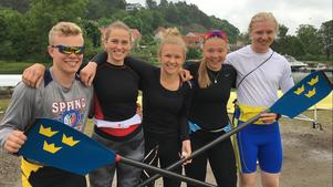 Redo för junior-NM i rodd är solleröroddarna Isak Birkeholm, Johanna Sahr-Throgen, Jonna Danielsson, Elin Lindroth och Filip Melin.