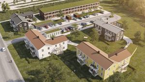 Ritning över kvarteret Dallas som ska byggas på Faxevallen.