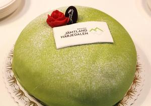 Tårtan var dekorerad med Region Jämtland Härjedalens nya logga.