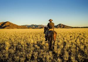 Vägvisaren i denna stiglösa värld är en afrikansk cowboy från ett av Namibias stamfolk, herero. Att få rida i denna orörda vildmark är en euforisk upplevelse.   Foto: Jörgen Ulvsgärd