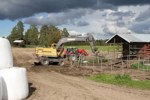 I dagarna har bygget av den nya ladugården kommit igång med grundarbetena. Den nya ladugården mäter 50 gånger 30 meter och ska bli klar i början av året.