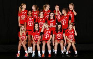 Gustavsbergs handbollsflickor födda 1996 gör sig redo för den årliga lagfotograferingen.
