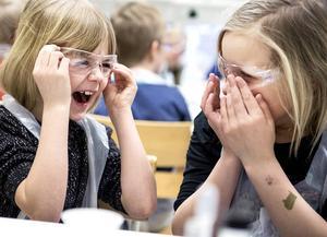 Sigrid Larsson och Elna Ottosson är nyfikna och spända inför experimenten. – Jag vill aldrig gå härifrån, säger Sigrid och får medhåll av Elna.