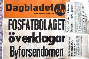 En löpsedel från Dagbladet i slutet av 1960-talet. Jan Gullmark sparade allt som skrevs om Byforsen.