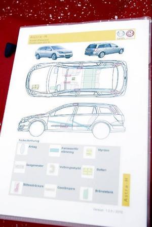 Räddningskortet visar bilens känsliga punkter.