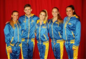 De fem VM-dansarna från Knut Säborg Danstudio.