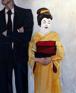 Män i kostym ger makt. Här målningen Geisha.