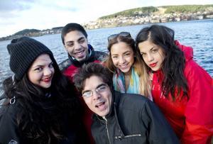 Emilia, Christopher, Andreas, Sofia och Alexandra Vithal återförenades i Östersund. Foto: Per Landfors