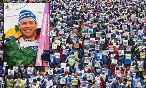 Jan Ottosson, som själv vunnit Vasaloppet fyra gånger (här från prisutdelningen 1991), bävar inför SMHI's prognos. Ymnigt snöfall kan ställa till det för både arrangörer och åkare.