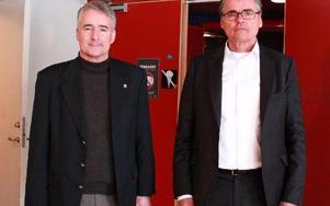 – Det är inget krismöte. Vi har ett bra läge och ska bli bättre. Säters kommunchef Stefan Lundqvist tillsammans med föreläsaren Axel Danielsson.
