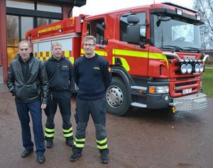 Brandchefen Håkan Bäcklund, vice brandchefen Per-Erik Jonsson och brandmannen Thomas Eriksson kommer att förevisa en av Sveriges modernaste brandbilar vid Öppet Hus på lördag.