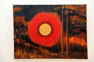 Helena Ädel kommer att ställa ut i Voxnabruk. Hon har målat denna olja Sol.