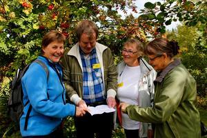 Maths Östberg, Zinita Ritzen och Eva Jernqvist hittar flera spännande programpunkter, Programmet är omfattande, bland annat ska Maud Wedin, till vänster, berätta om skogsfinska ortnamn