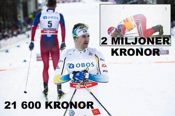 Martin Johnsrud Sundby har blivit miljonär på skidåkningen den här säsongen - men i svensklägret är det mörkt. Svenskarna har nästan inte tjänat några pengar alls.