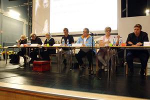 Panelen bestod av, från vänster, Lena Olsson (V), riksdagsledamot, Malung, Roland Bäckman (S), riksdagsledamot, Ljusdal, Maria Aspers (MP), landstingsråd, Gävle, Lennart Sjögren (KD), riksdagskandidat, Lappland, Margareta B Kjellin (M), riksdagsledamot, Hudiksvall, Karin Ånöstam (C), riksdagskandidat, Vallsta och Hans Backman (FP), riksdagsledamot, Hofors.