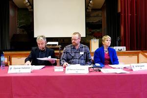 Krokoms kommuns nya presidium: ordförande Gunnar Hellström (C), 1:e vice ordförande Marcus Färnström (M) och 2:e vice ordförande Mi Bringsaas (S).