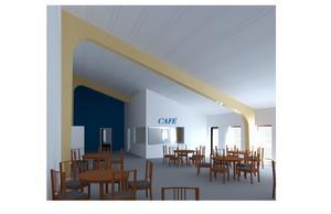 En cafédel som kan användas av unkan och föreningar när de ska ha möte kommer också att finnas.