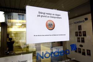 Nordea i Bollnäs höll stängt under hela onsdagen.