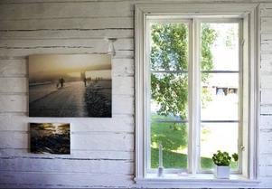 Kontraster. Kylan i vinterbilderna förstärks av sommargrönskan utanför fönstret.