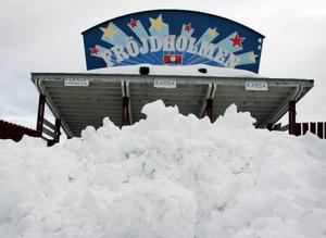Någon snöbrist råder inte inför årets Snöyran på Fröjdholmen.