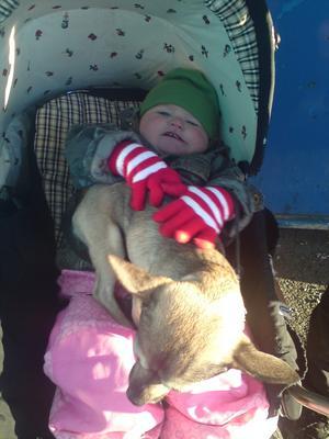 Adora myser med sin hund Fabbe i vårsolen