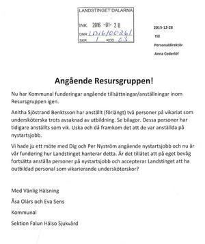 Kommunals brev till landstingets personaldirektör.