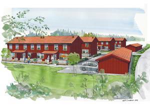 Längorna med bostadsrättsradhus i Västertorp byggs i två plan. Garagelängorna till höger vetter mot Västertorpsvägen och befintlig bebyggelse.