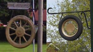 Det gamla trähjulet och den moderna ersättaren.