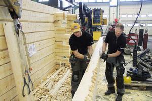 Patrik Andersson, till vänster, och Leif Persson har i tre veckor jobbat med att bygga upp getstallet.