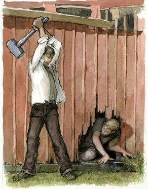 Historien om grisstöldförsöket i Almby. Slingris med klubban, i väntan på att grisen skulle sticka ut trynet. Men i stället var det Bredspåringen som kröp fram. Eller om det var tvärtom ... berättelserna varierar. teckning: RIAD AL-KHIAT