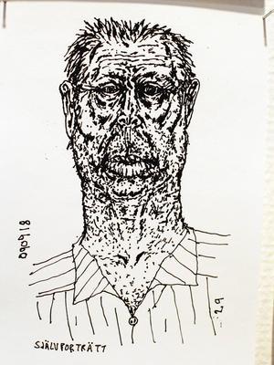 Självporträtt ur den tecknade dagboken, ofta med elaka dagsaktuella kommentarer.