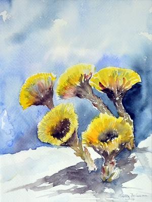 "Monica Bohmans målning ""Tussilago""."